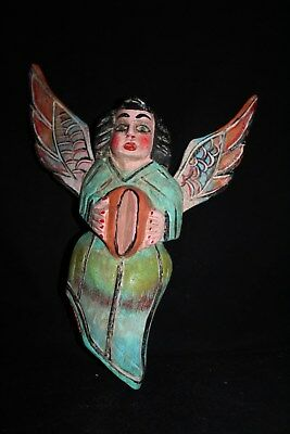079  ANGEL ALADO MEXICAN WOODEN FIGURE decoracion pared madera artesania