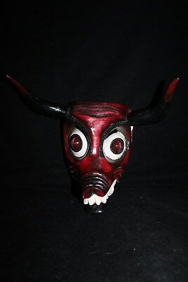 084 RARE PIG-DEVIL DANCE MEXICAN WOODEN MASK diablo wall decor madera artesania