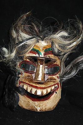 109 VOODOO HAIR MEXICAN WOODEN MASK vudu HANDMADE DECORATIVE FIGURE despeinado