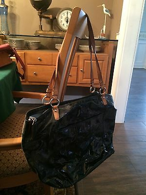 AUTH COACH PATENT LEAH EMBOSSED TURNLOCK X-LARGE TOTE 14662 Black