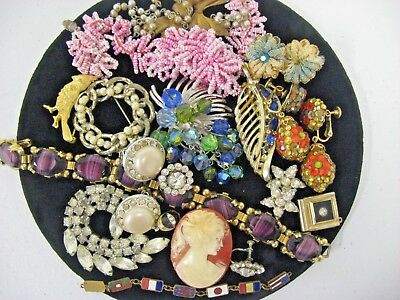 Lot of Antique Vintage Rhinestone Brooch Pin Bracelet Jewelry lot Damaged Craft