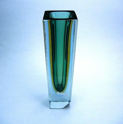 Murano Venetian Square Sommerso Vase Green and Clear Glass