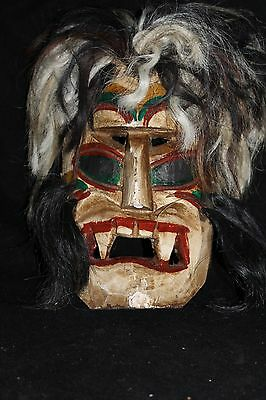 140 VOODOO HAIR MEXICAN WOODEN MASK vudu HANDMADE DECORATIVE greñudo folk art