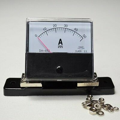 DC 0-50A Analog Amp Meter Ammeter Current Panel + Shunt Resistor As a Set