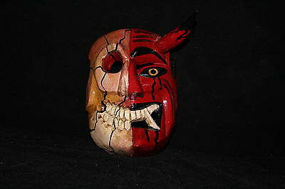 189 TWO FACES DEVIL-SKULL MEXICAN WOODEN MASK WALL DECOR diablo-calavera