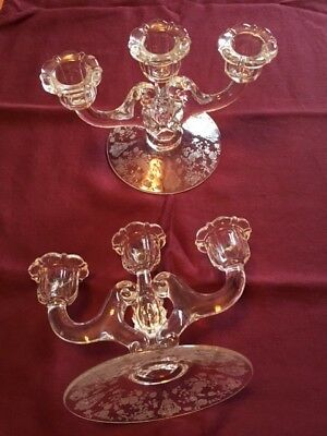 Pair vintage crystal candlesticks, Rose Point Clear by Cambridge. 25% off sale!