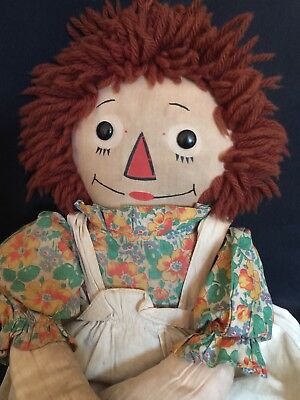 """Early 19"""" Georgene Raggedy Ann With Outlined Nose, All Original...so Sweet!"""