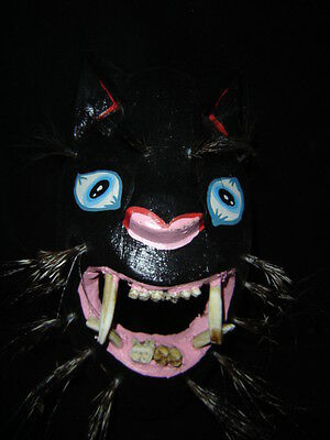 277 PANTERA MEXICAN WOODEN MASK handcraft wall decor panther madera artesanos