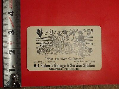 JB118  RARE Business Card Black Jim Crow Art Fishers Garage Racist Newport TN