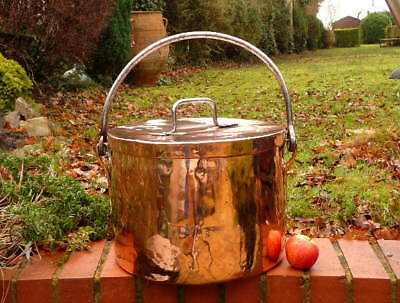 EARLY 19th CENTURY HUGE FRENCH KITCHEN COPPER STOCK POT with IRON BAIL HANDLE