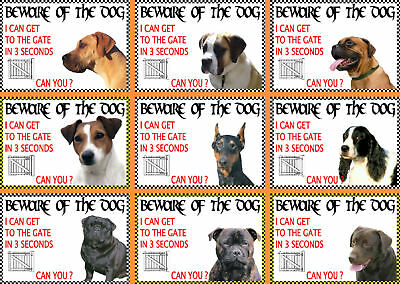 Beware Of The Dog Signs I Can Get To The Gate in 3 Seconds Various Breeds set3