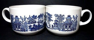 Pair of Churchill Blue Willow Soup Oversized Jumbo Mug Cup Made in England