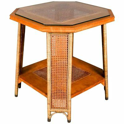 Heywood Wakefield Yewwood, Cane and Wicker Glass Top Lamp Stand, 20th Century