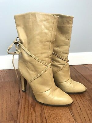 Vintage Sergio Rossi Womens Leather Nude Boots 37.5