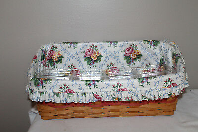 1996 Longaberger Vanity Basket,  2 Protectors, Fabric, Mother's Day