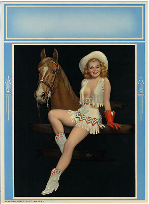 Vintage 1950s Walt Otto Corral Cuties Pin-Up Print Hatted Cowgirl and Horse Fine