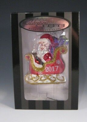 Christopher Radko SANTA SLEIGH Christmas Ornament - NIB - 2017
