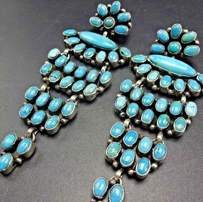 """3.5"""" LONG Signed NAVAJO Sterling Silver & TURQUOISE Cluster Chandelier EARRINGS"""