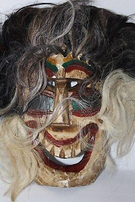 324 VOODOO HAIR MEXICAN WOODEN MASK vudu HANDMADE DECORATIVE greñudo folk art