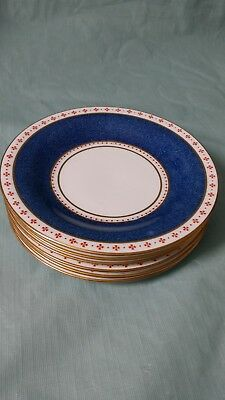 Set of 6 Wedgwood Small Plates Blue with Red and Gilt banding