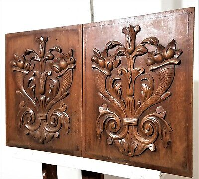 Pair Hand Carved Wood Panel Antique French Gothic Cornucopia Salvaged Carving