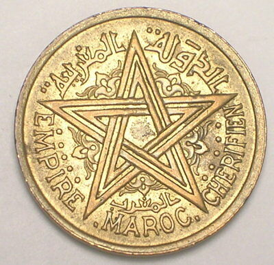 1945 Morocco Moroccan 2 Francs Pentacle WWII Era Coin XF