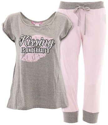 Love Loungewear Juniors Black Cotton Love Is In The Air Short Valentines Pajamas