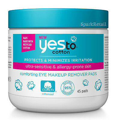 Yes To Cotton Comforting EYE MAKE UP REMOVER PADS 45 Wipes/Cloths/Towelettes