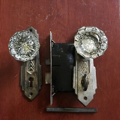 Antique Privacy Bath Room Mortise Thumb Turn Deadbolt,backplates & Doorknobs