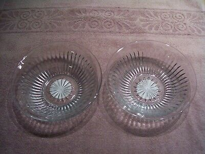 "Cut/Pressed Clear Glass KIG Indonesia Bowls 7"" - set of 2 - NEW with TAGS"