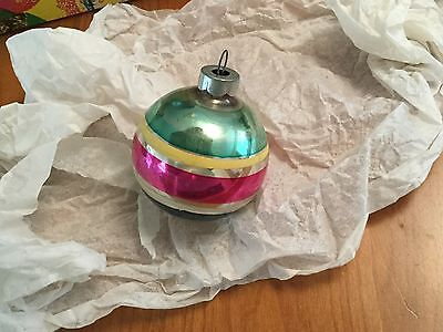 """MID MOD Mercury Glass 2"""" Striped Christmas Ornament Signed """"MADE IN U.S. OF A"""""""