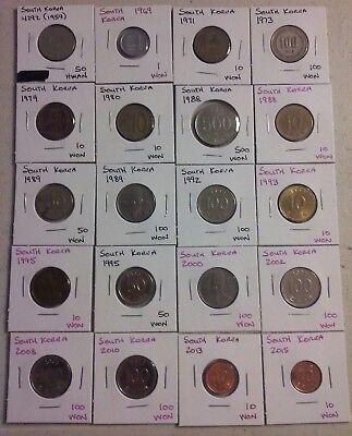 South Korea Coin Lot - (1959 to 2015) -20 Different Carded Coins - (#CWC305)