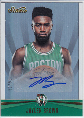 2016/17 Panini STUDIO GOLD SIGNATURES #36 JAYLEN BROWN Celtics 62/99 RC AUTO