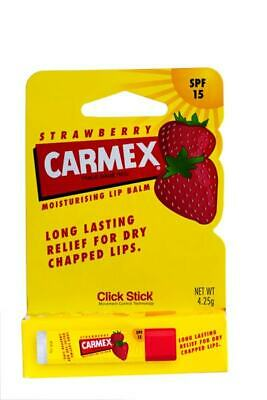 New 4.25g Carmex Lip Balm Click Stick Strawberry SPF 15 Glossy Moisturising