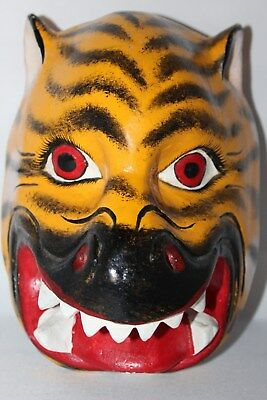 343 TIGER MEXICAN WOODEN MASK tigre bolita artesania wall decor wild animal folk