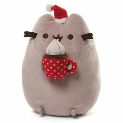 "Web Comic Licensed 10"" Holiday PUSHEEN the Cat CHRISTMAS Snack COCOA PLUSH LTD"