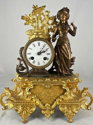Stunning Antique French 19thc Figural 2 tone gilt 8 day Mantle Clock by L.P.Japy