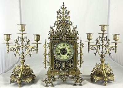 Antique 19th c French  pierced gilt bronze mantle clock garniture set by Marti