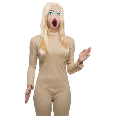 Blow Up Doll Mask With Wig Sassy Female Woman Sexy Costume Face Hair Funny Humor