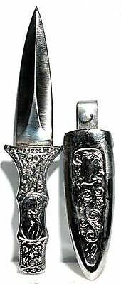 Silver Engraved Boot Knife Athame Wicca Wiccan Ritual Supplies FREE SHIPPING