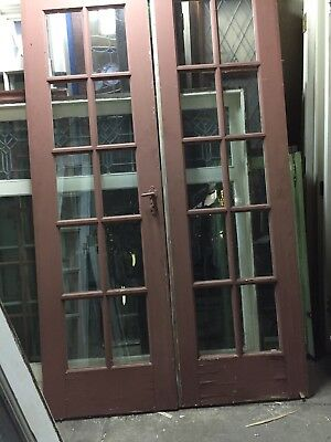 "French Doors Old antique vintage 10 Light 79 1/2"" X 24"" Ea 48 Inch Open"
