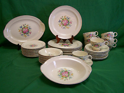 Taylor Smith Taylor ~8 Pc. Setting Pat.#1821 Center Floral Lg.Pink Roses~Sm.Blue
