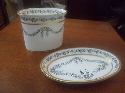 RARE Hammersley Bone China For TIFFANY Oval Vanity Cup, Plate, Both Signed, Mint