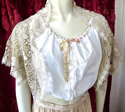 Antique Edwardian Lace Jacket Ornate English Cropped Floral Pattern Small