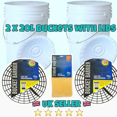 2 X Heavy Duty Car Wash Buckets With Bucket Barriers/grit Guards  Free Wash Mitt