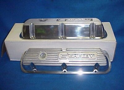 New Shelby Ford Polished Finned Aluminum Valve Covers Small Block Ford  Mustang