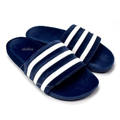 87d4382f40dc NWT Adidas Men s Navy Velvet Adilette Slide Sandals Velour Slippers  AUTHENTIC
