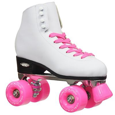 Epic Classic Women's High-Top Quad Roller Skates White with Pink Wheels Size 06