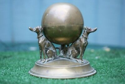 SUPERB 19thC GILT BRONZE INKWELL WITH TRIO OF INTRICATE DOG FIGURES c1880s