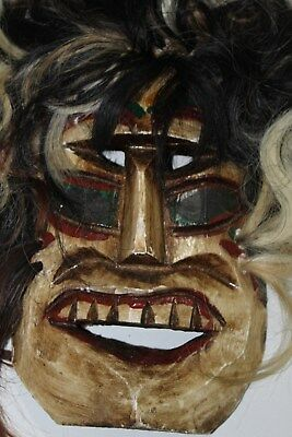 358 VOODOO HAIR MEXICAN WOODEN MASK vudu HANDMADE DECORATIVE FIGURE artesania